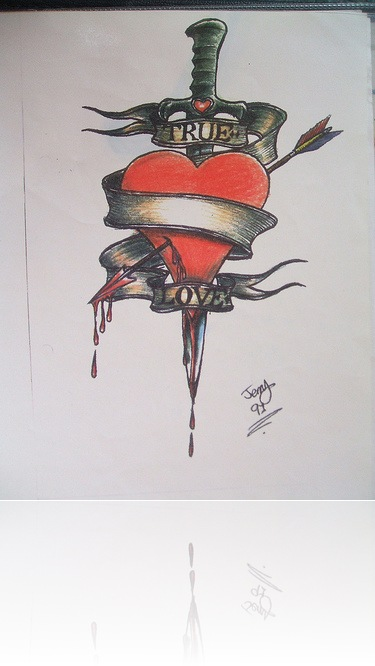 Innovative Heart And Dagger Tattoo Design
