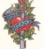 Elegant Broken Heart Dagger Tattoo Picture