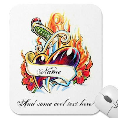 Chic Heart And Dagger Tattoo Mousepad Photo