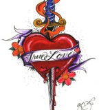 Stylish Image Of Heart And Dagger Tattoo