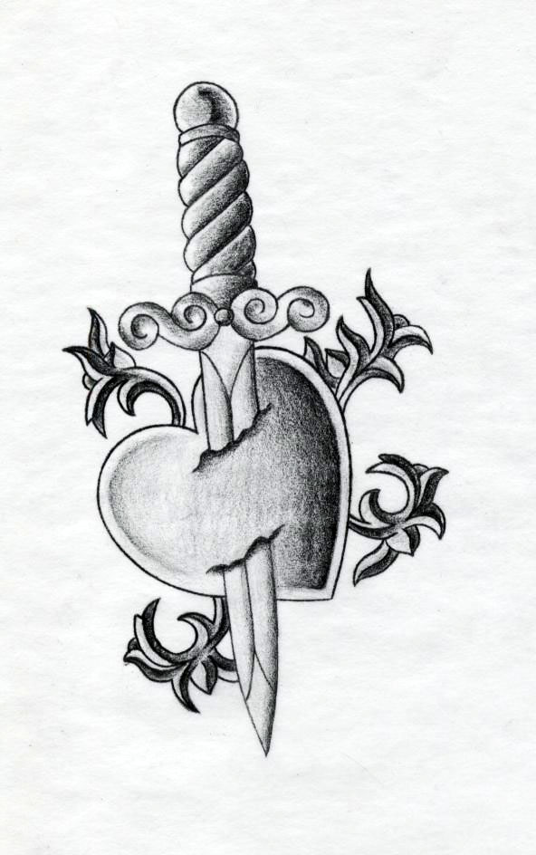 Glamorous Heart And Dagger Tattoo Picture By Alison