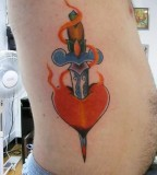 Colorful Creative Heart Dagger Flame Tattoo