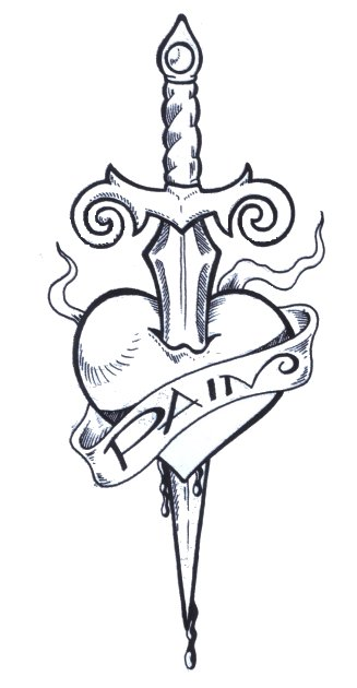 Exquisite Heart With Dagger Tattoo Ideas