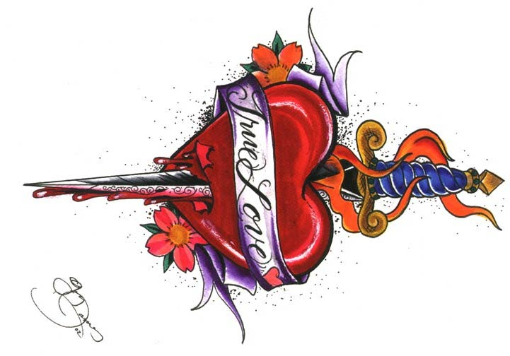 Attractive Heart And Dagger Tattoo Design Ideas