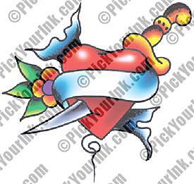 Stunning Heart And Dagger Tattoo Design