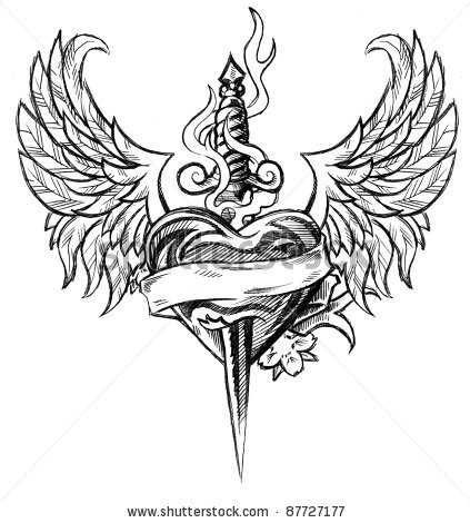 Winged Heart And Dagger Tattoo Design Inspiration