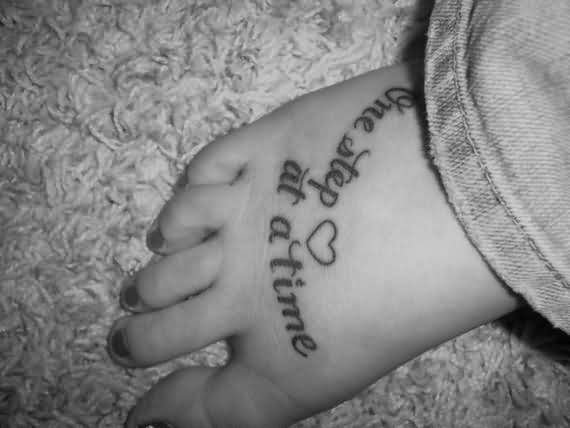 Heart And Words Tattoo On Foot