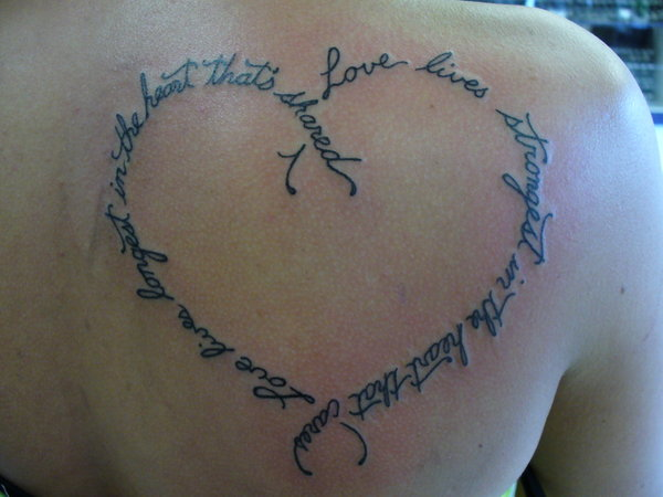 Words Shape Tattoo Design For Men And Women