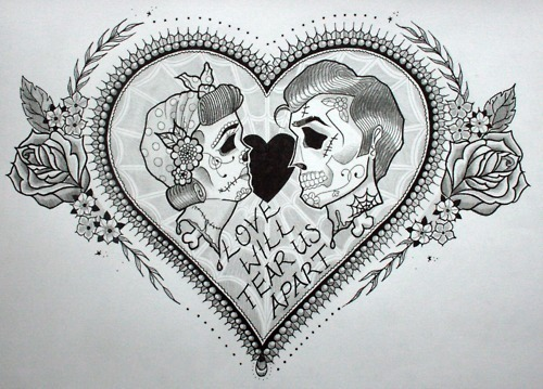 Heart and Skull Tattoo Sketch