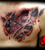 Heart Tear Out Chains Lock Color Chest In Progress Tattoo