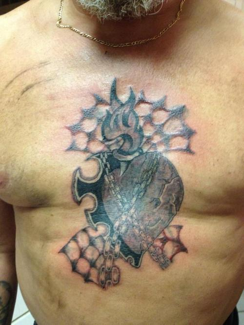 Heart With Chains And Spider Webs Tattoo Picture