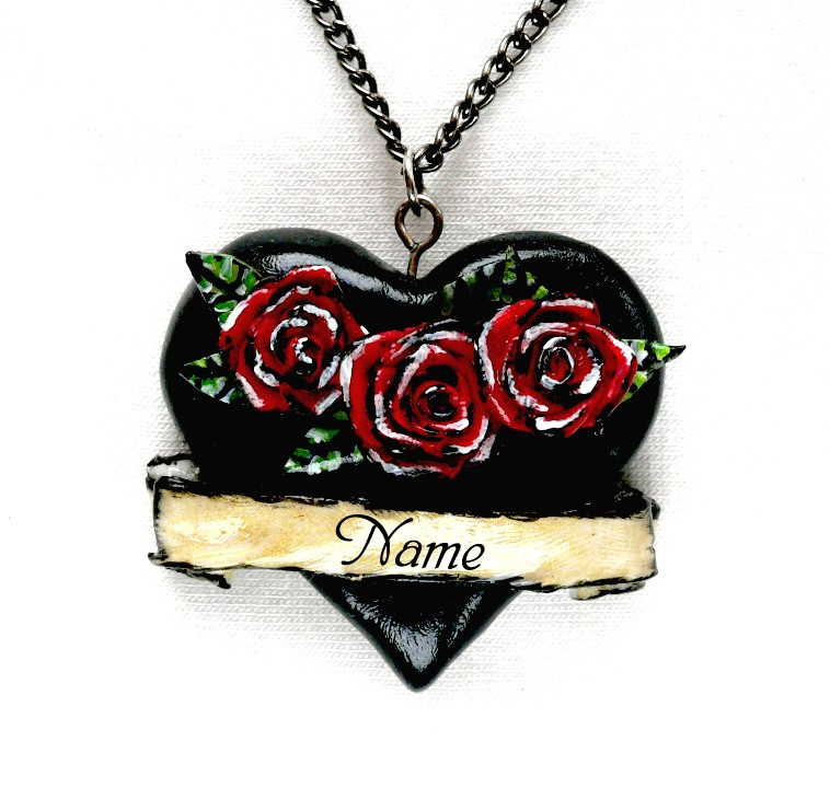 Old School Tattoo 3d Black Heart Necklace By Dustofenchantment