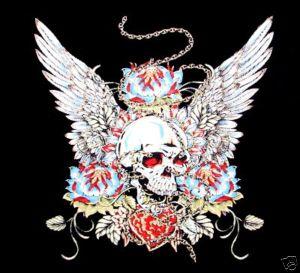 Skull Heart Wings Chain Tattoo Art