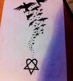 Big Tattoo Heartagram Sketch