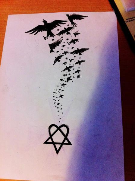 Big Tattoo Heartagram Sketch