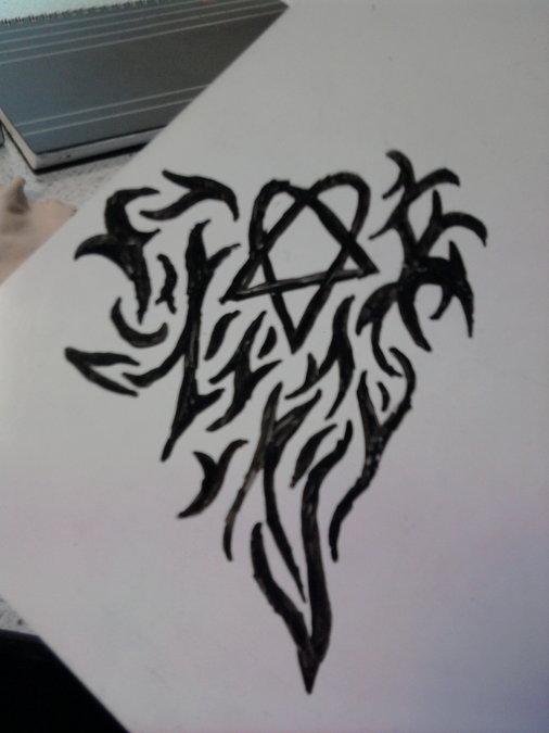 Heartagram Tattoo Design Sktech By Chaosarchy