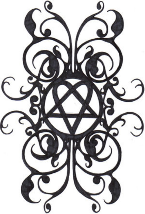 Cool Heartagram Tattoo Design Sketch