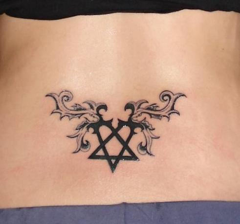 Heartagram Tattoo Design for Lower Back