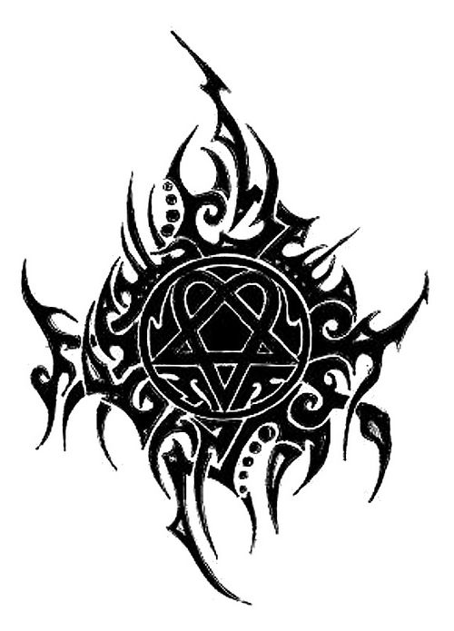 Stylish Tribal Tattoo Of Heartagram