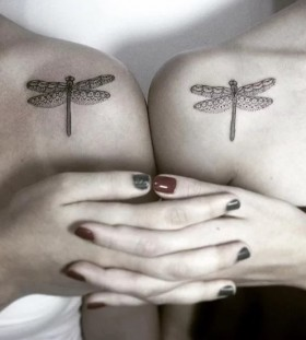 hers and hers dragonfly couple tattoo