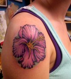 Best Purple Hibiscus Flower Tattoo Designs For Girls