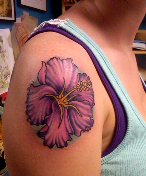 Best Purple Hibiscus Flower Tattoo Designs For Girls