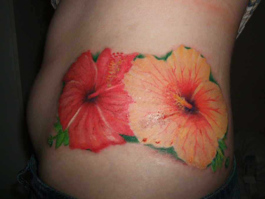 Orange Hibiscus Flower Tattoo Designs