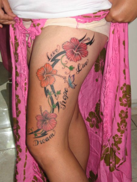 Hot Hibiscus Tattoo On Thigh Of Girl