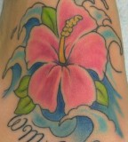 Hawaiian Hibiscus And Waves Tattoo Designs