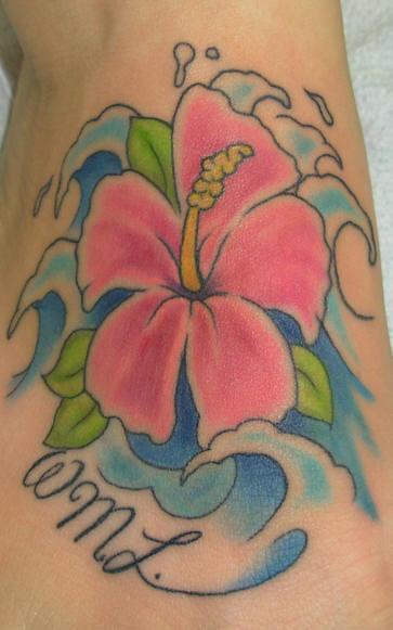 Hawaiian Hibiscus And Waves Tattoo Designs