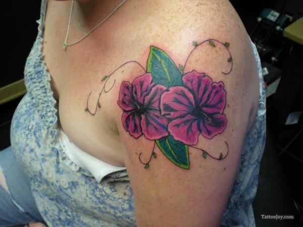 Purple Hibiscus Tattoo On Shoulder Tattoomagz Tattoo Designs