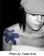 Blue Rose Lotus And Hibiscus Tattoo Picture