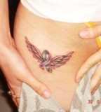 Small Wings Hip Tattoo Design for Women