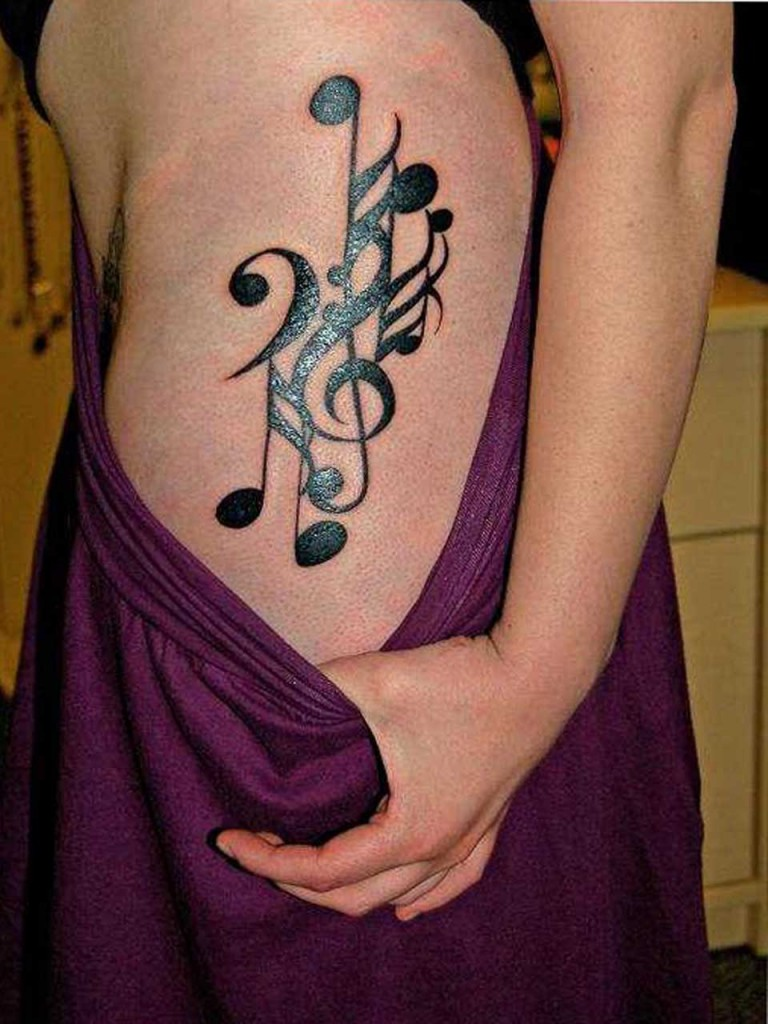 Chart Music Shaped Tattoo Design on Hip for Girls