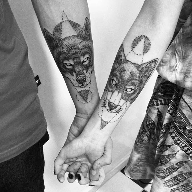 his and her wolf couple tattoo1