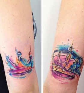 his and hers crown watercolor tattoo