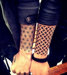 his and hers half sleeve couples tattoos