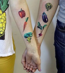 his and hers vegan couple tattoo