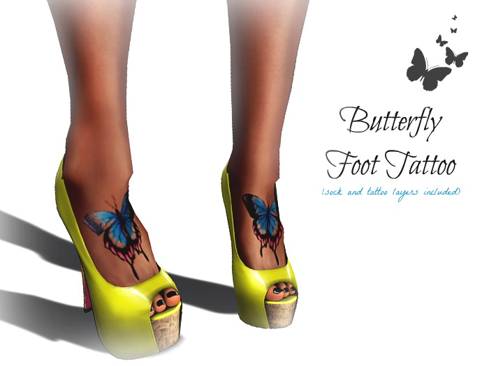 Chic Horns and Halos Butterfly Foot Tattoo for Women