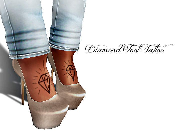 Chic Horns and Halos Diamond Foot Tattoo for Women