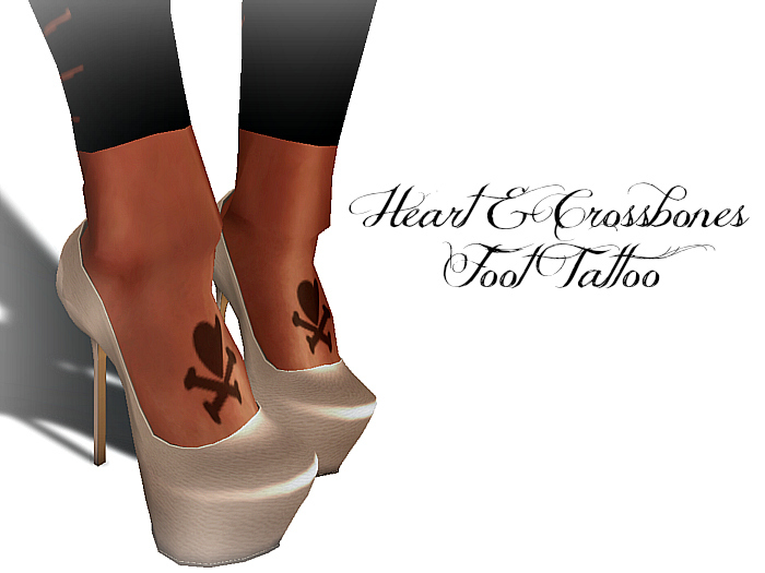 Exotic Horns and Halos Heart also Crossbones Foot Tattoo for Women