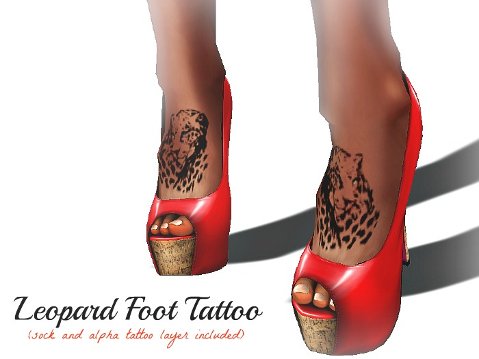 Horns and Halos Leopard Foot Tattoo Design for Women