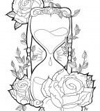 Hourglass and Rose Sketch Tattoo Design Ideas
