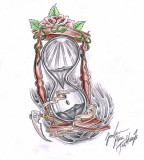 Hourglass Sketch for Tattoo Design