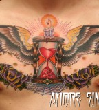 Winged Hourglass with Purple Rose Tattoo Design for Chest