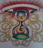 Hourglass Lamp Tattoo Sketch Design