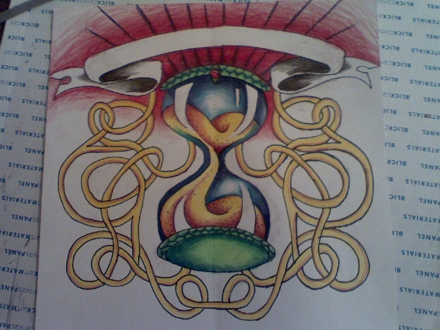 Hourglass Lamp Tattoo Sketch Design