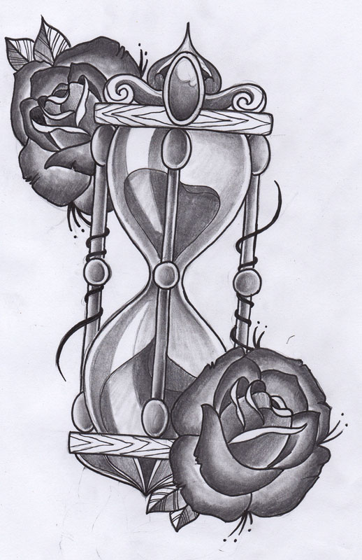 Sketch of Hourglass and Rose for Tattoo Design Ideas