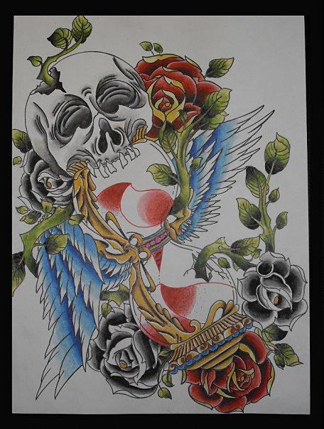 Artistic Skull Hourglass Tattoo Design