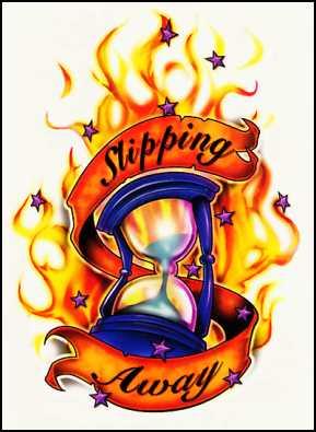Flaming Hourglass Tattoo Design